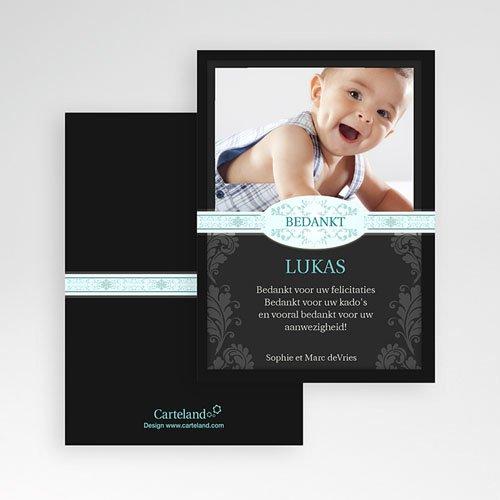 Bedankkaart doopviering jongen - Zwart design 12212 thumb