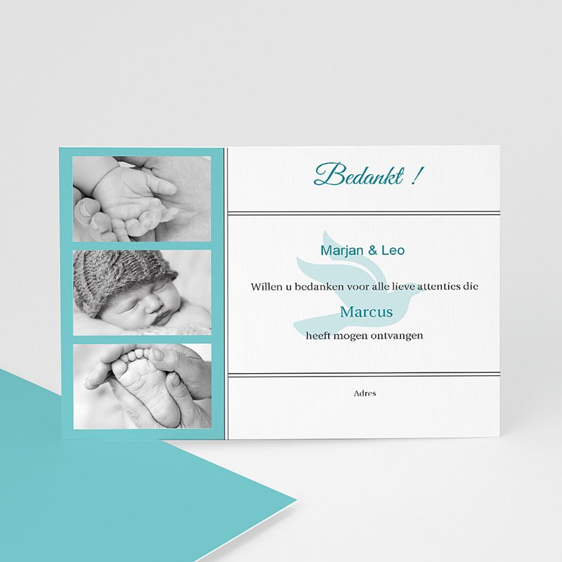 Bedankkaart doopviering jongen Blauw multifoto voor doopviering