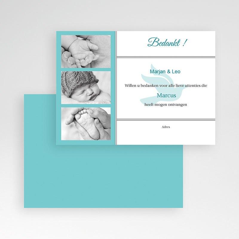 Bedankkaart doopviering jongen - Blauw multifoto voor doopviering 12214 thumb