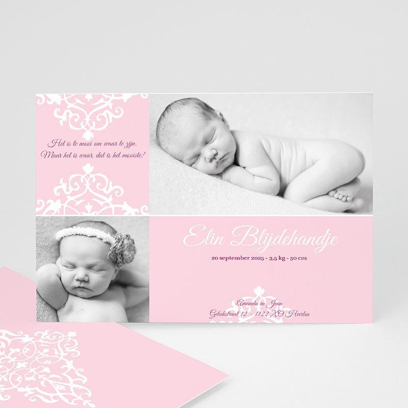 Geboortekaartje meisje - Roze dutch design 12223 thumb