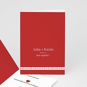 Personaliseerbare menukaarten huwelijk - Vierluik in rood - 1