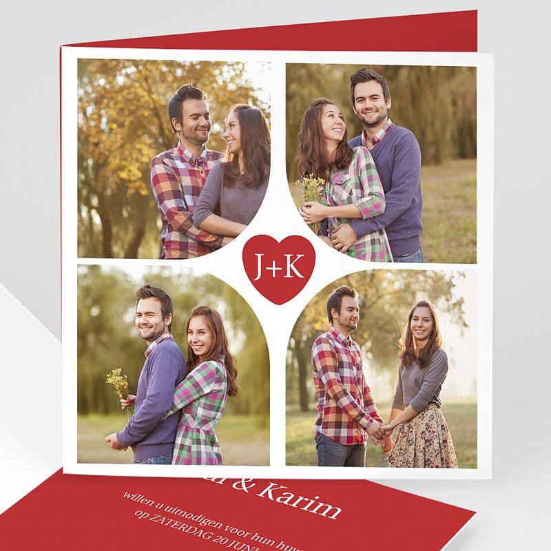 Trouwkaarten met foto - Vierluik in rood 12255 thumb