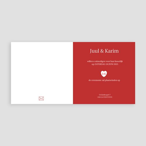 Trouwkaarten met foto - Vierluik in rood 12256 thumb