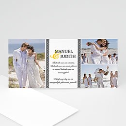 Bedankkaartjes huwelijk - Grijze waaier - 1