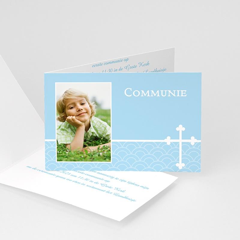 Uitnodiging communie jongen - Communieviering lichtblauw 12261 thumb