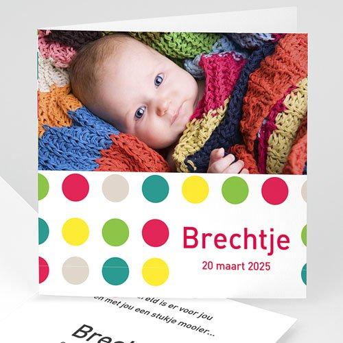 Geboortekaartje meisje - Bonte bolletjes 12267 thumb