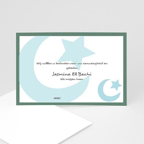 Bedankkaarten overlijden, Islamistisch - Grote maan en ster, blauw 12283 thumb