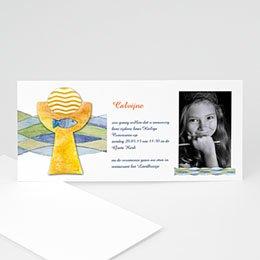Uitnodiging communie meisje Fresco van doopsel