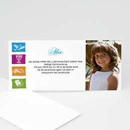 Uitnodiging communie meisje Gedoopt in puur wit