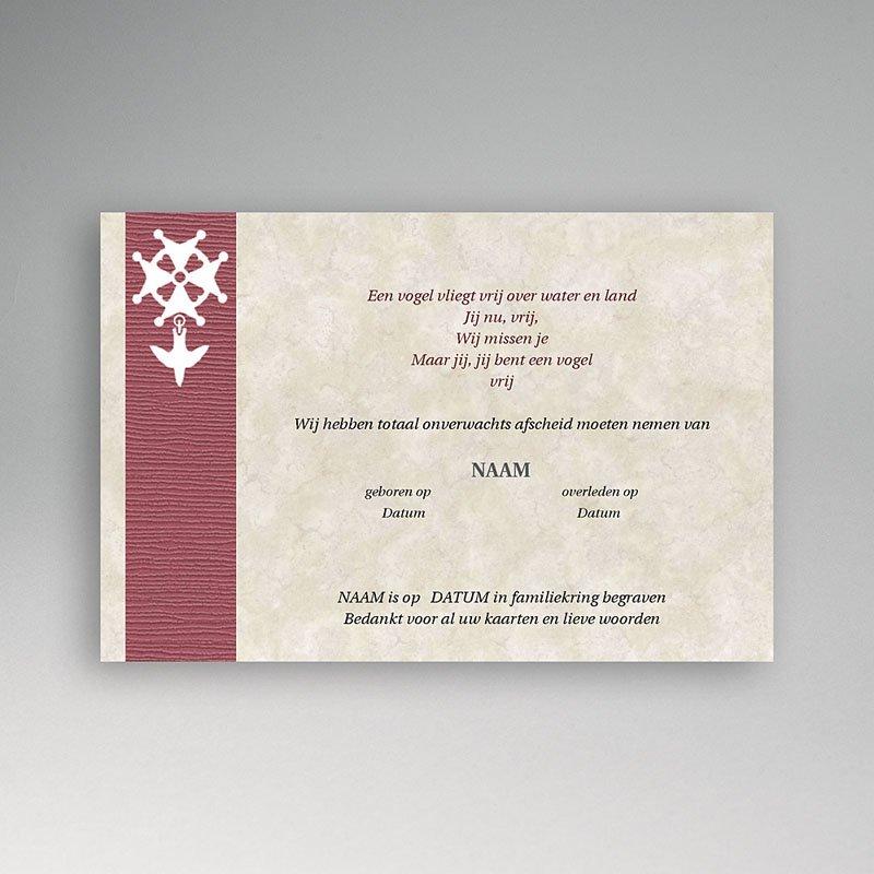 Bedankkaarten overlijden, Christelijk - Hugenotenkruis, rood 12297 thumb
