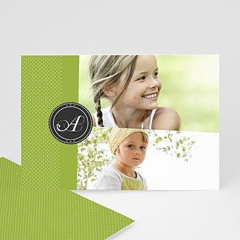 Fotokaarten met 2 foto's - Groen en witte stippen - 1