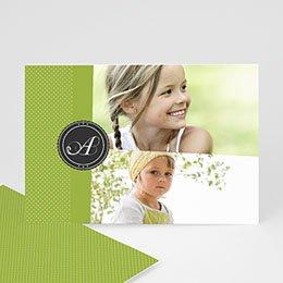 Fotokaarten met 2 foto's Groen en witte stippen