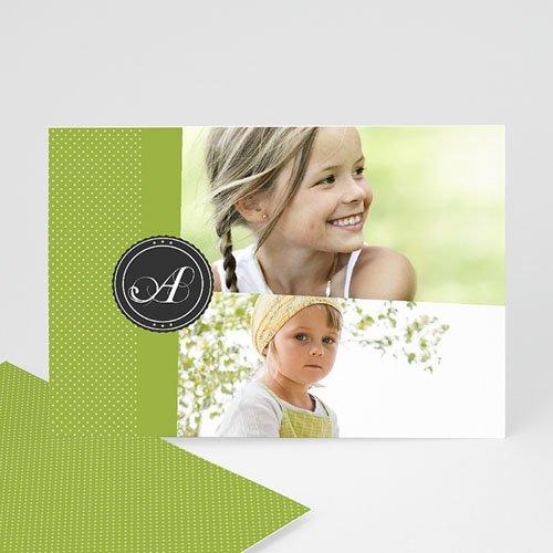 Fotokaarten met 2 foto's - Groen en witte stippen 12335 thumb