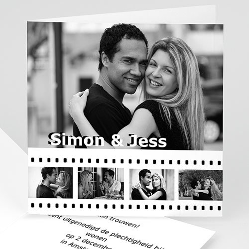 Trouwkaarten met foto - Op de film 12345 thumb