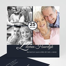 Jubileumkaarten huwelijk Elegante uitnodiging