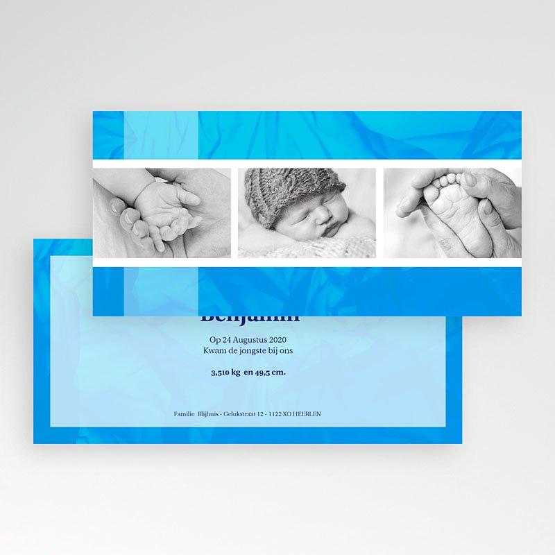 Geboortekaartje jongen - Ingelijst in blauw 12405 thumb