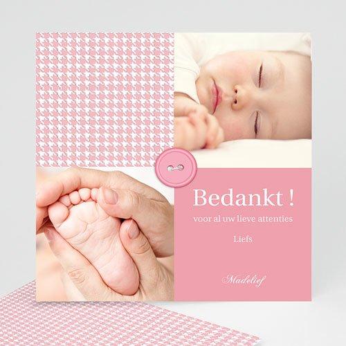 Bedankkaartje geboorte dochter - Roze knoopjes 12433