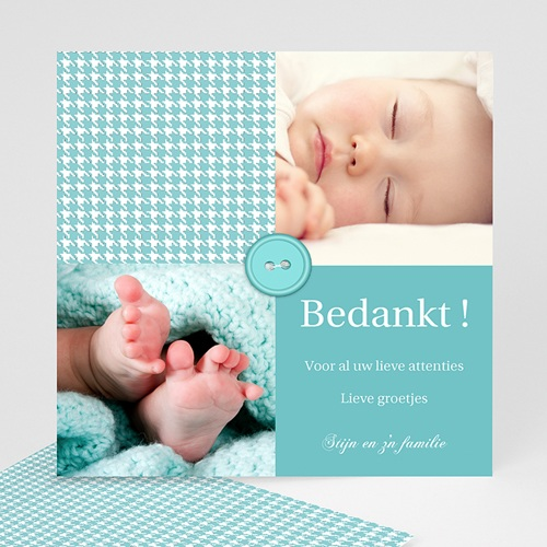 Bedankkaartje geboorte zoon - Blauwe knoopjes 12435 thumb