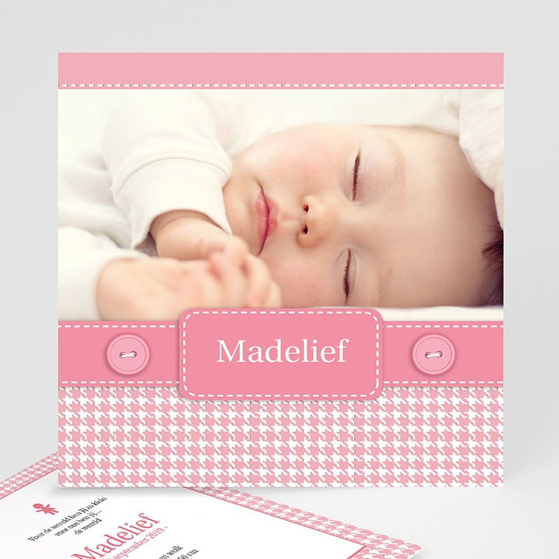 Geboortekaartje meisje - Roze knoopjes 12437 thumb