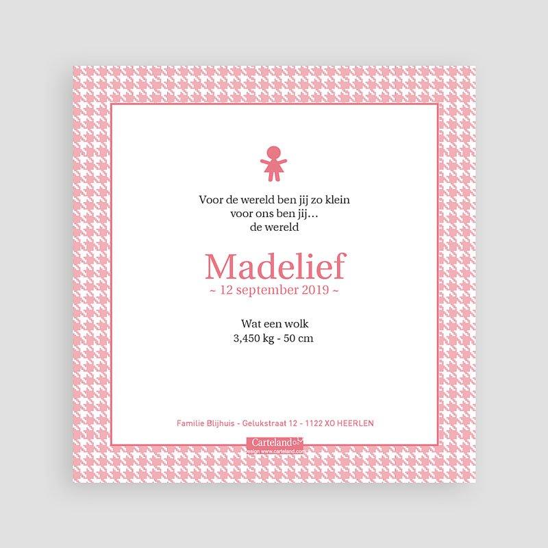 Geboortekaartje meisje - Roze knoopjes 12438 thumb