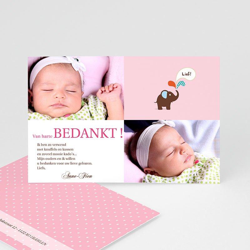 Bedankkaartje geboorte dochter - Pink Lady 12447 thumb