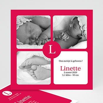 Geboortekaartje meisje - Rode mozaiek - 1