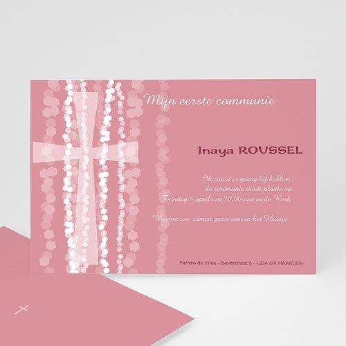 Uitnodiging communie meisje - Roze rozenkrans en kruis 12558 thumb