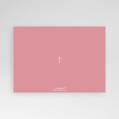 Uitnodiging communie meisje - Roze rozenkrans en kruis 12559 thumb
