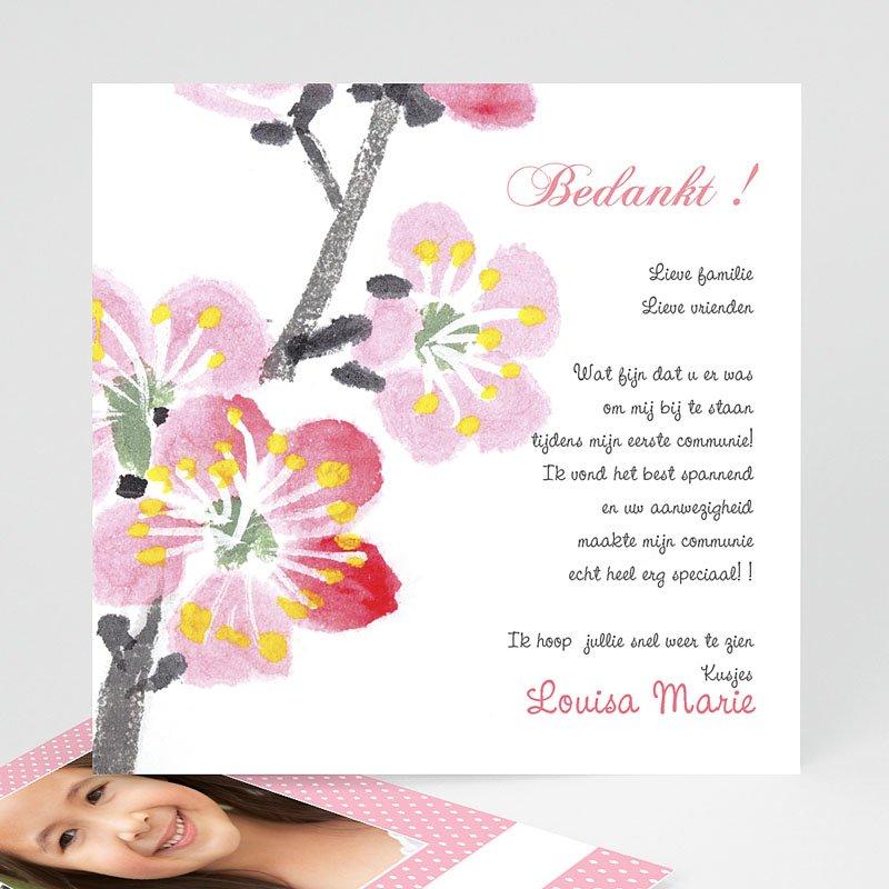 Bedankkaart communie meisje - Uitnodiging eerste communie - Bloei van de Geest - 12564 thumb