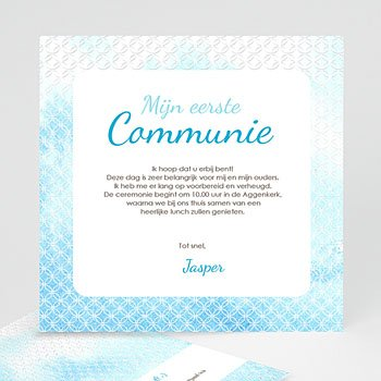 Uitnodiging communie jongen Het heilige water effect