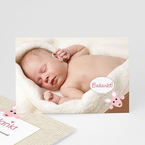 Bedankkaartje geboorte dochter - Geboortekaartjes meisje - Meisje kangaroe - zokaar 12612 thumb