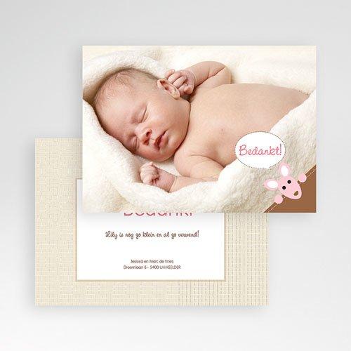 Bedankkaartje geboorte dochter - Geboortekaartjes meisje - Meisje kangaroe - zokaar 12613 thumb