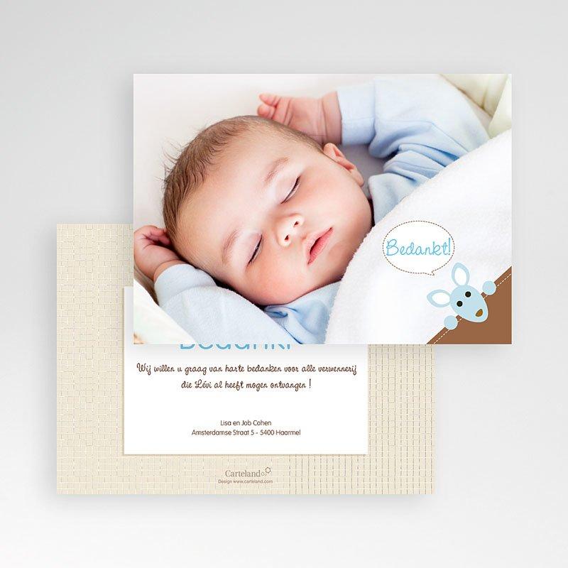 Bedankkaartje geboorte zoon - Kangoeroe  12619 thumb