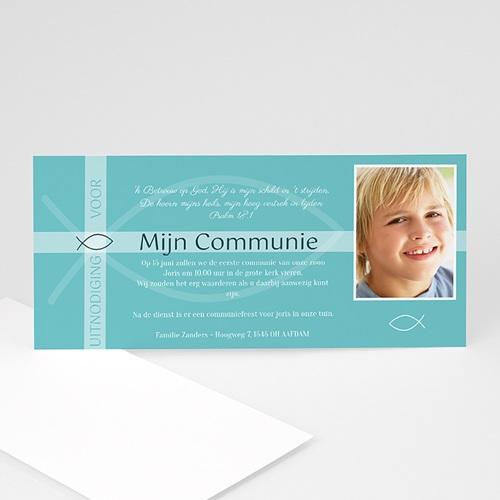 Uitnodiging communie meisje Ichthus in blauw