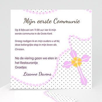 Uitnodiging communie meisje - De roze kapel - 5