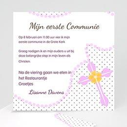 Aankondiging Communie Roze kralen vrolijk kruis
