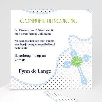 Uitnodiging communie jongen Blauwe kralen