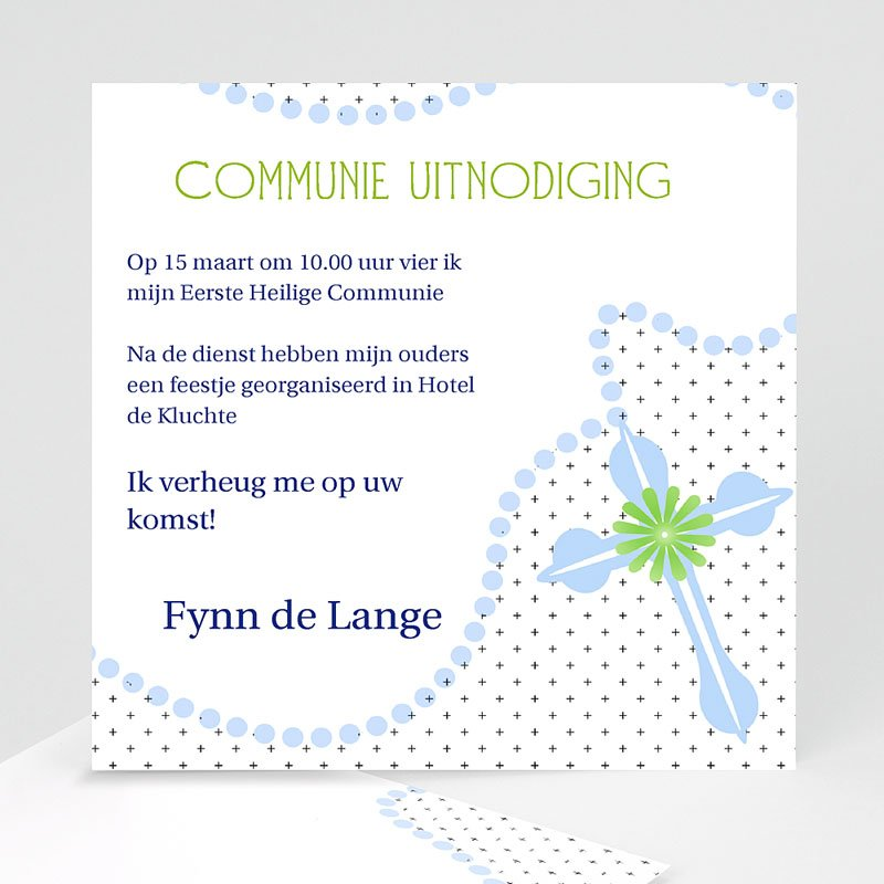 Uitnodiging communie jongen - Blauwe kralen 12723 thumb