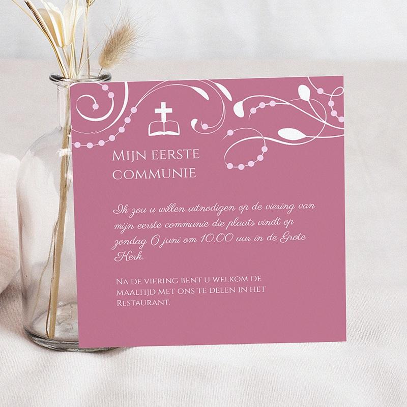 Uitnodiging communie meisje - klassiek roze moderne letters 12729 thumb
