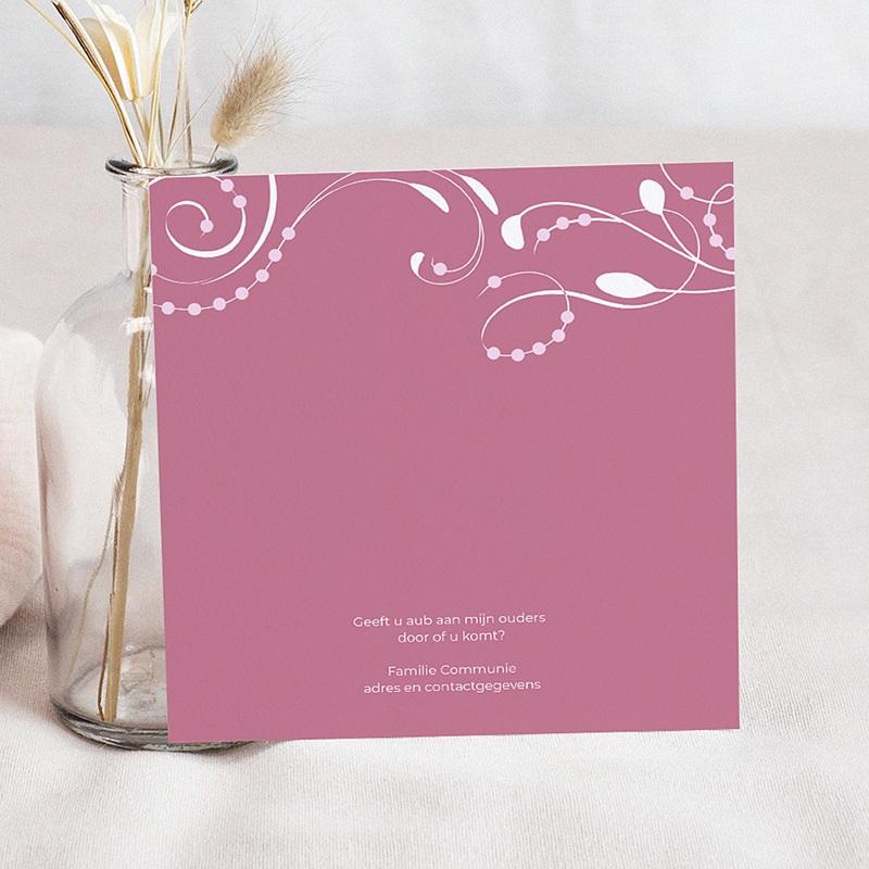 Uitnodiging communie meisje - klassiek roze moderne letters 12730 thumb