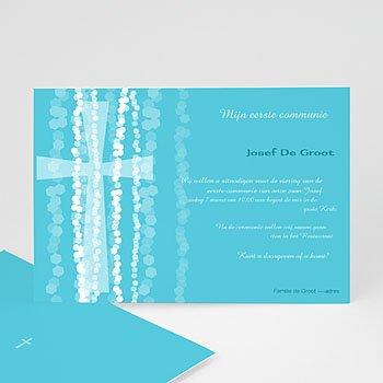 Uitnodiging communie jongen Blauw rozenkrans en kruis