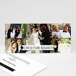 Bedankkaartjes huwelijk - Chique zwart wit goud - 5