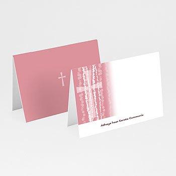 Plaatskaartjes Communie - Roze rozenkrans en kruis - 5