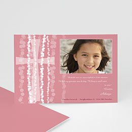 Bedankkaartjes Communie Roze rozenkrans en kruis