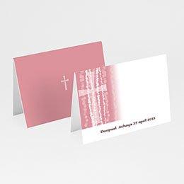 Plaatskaartjes Doopviering Roze rozenkrans en kruis