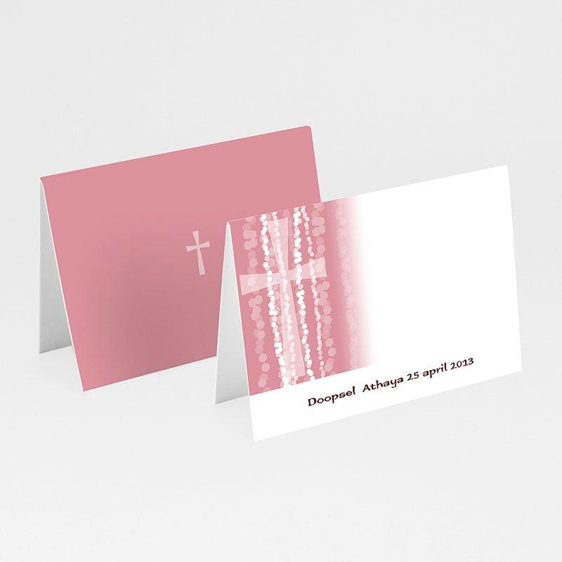 Plaatskaartjes doopviering - Roze rozenkrans en kruis 12976 thumb
