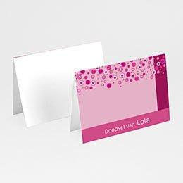 Plaatskaartjes doopviering Roze retro doop