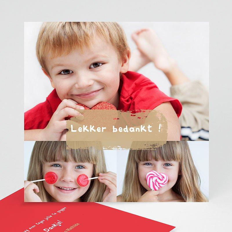 Multi fotokaarten, meerdere foto's - Drie foto's rood kader 13153 thumb