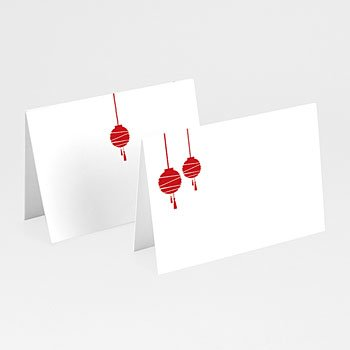 Personaliseerbare plaatskaartjes huwelijk - Rode lampion - 1