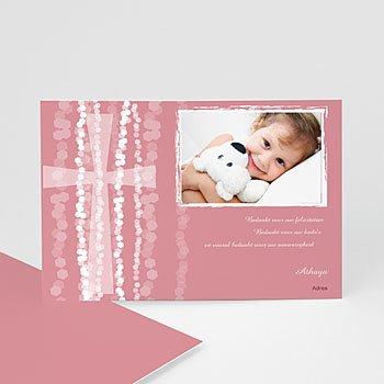 Bedankkaart doopviering meisje - Roze rozenkrans en kruis - 1
